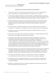 "Form 400-00010 ""Agreement to Enter Into Parent Coordination"" - Vermont"