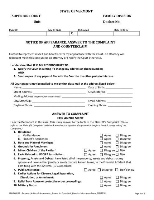 Form 400-00815A  Printable Pdf