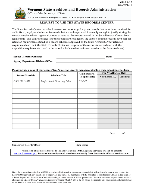 Form VSARA-12  Printable Pdf