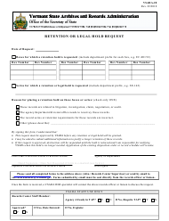 "Form Vsara-20 ""Retention or Legal Hold Request"" - Vermont"