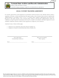 "Form Vsara-21 ""Legal Custody Transfer Agreement"" - Vermont"