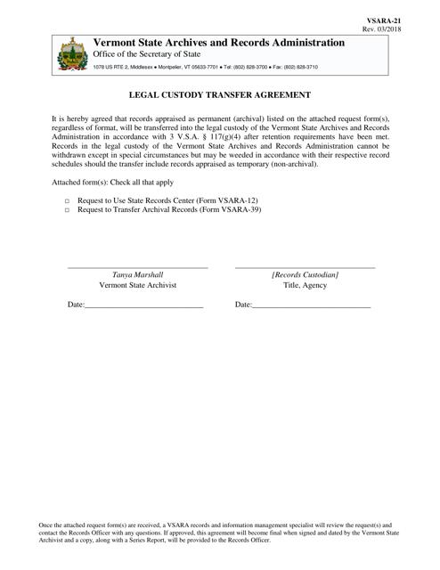 Form VSARA-21  Printable Pdf