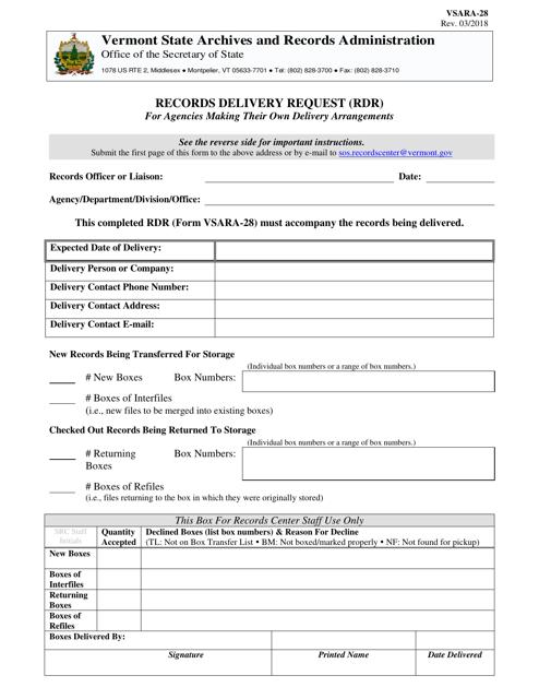 Form VSARA-28  Printable Pdf