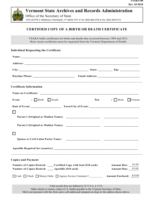 Form VSARA-08  Printable Pdf