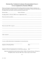 "Form a ""Election Day Technical Assistance Documentation Form"" - Vermont"