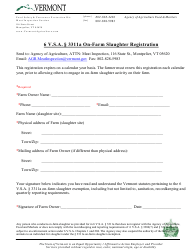 """On-Farm Slaughter Registration Form"" - Vermont"