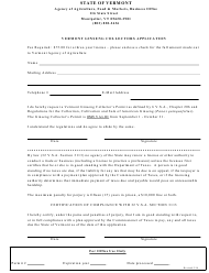"""Vermont Ginseng Collectors Application Form"" - Vermont"