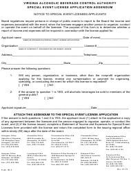 "Form SE-2 ""Special Event License Application Addendum"" - Virginia"