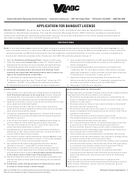 """Form 805-4 """"Application for Banquet License"""" - Virginia"""