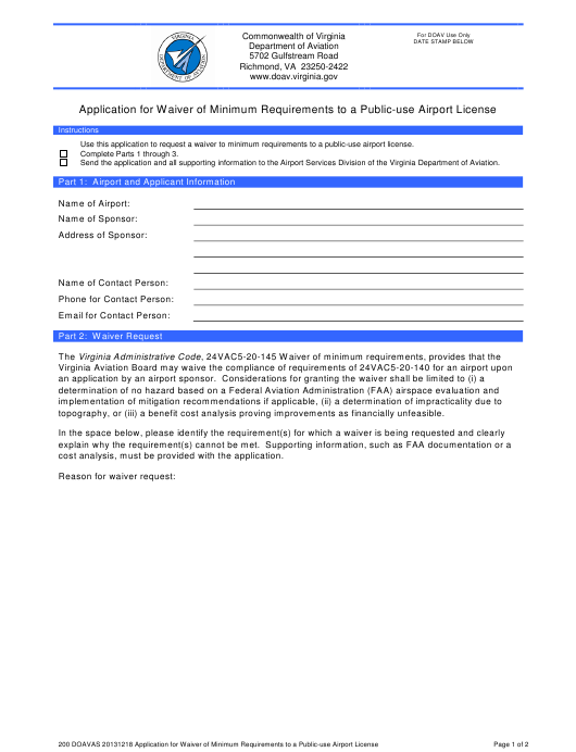 """Application for Waiver of Minimum Requirements to a Public-Use Airport License"" - Virginia Download Pdf"