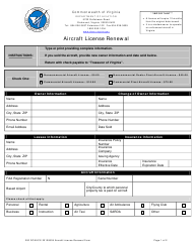 """""""Aircraft License Renewal Form"""" - Virginia"""