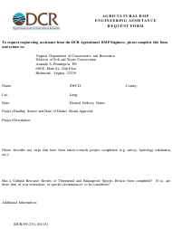 """Form DCR199-231 """"Agricultural Bmp Engineering Assistance Request Form"""" - Virginia"""