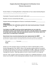 "Form DCR199-244 ""Virginia Nutrient Management Verification Form"" - Virginia"