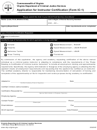 """Form Ic-1 """"Application for Instructor Certification"""" - Virginia"""