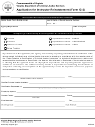 """Form Ic-2 """"Application for Instructor Reinstatement"""" - Virginia"""