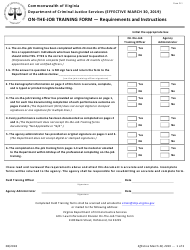 "Form D-1 ""On-The-Job Training Form"" - Virginia"