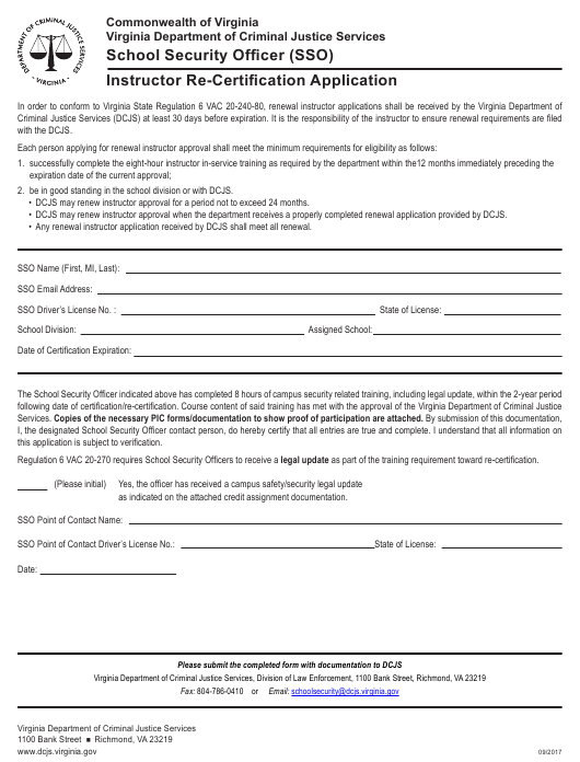 """""""Instructor Re-certification Application Form - School Security Officer (Sso)"""" - Virginia Download Pdf"""