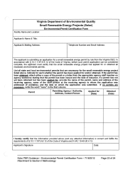 "Form REW-2 ""Environmental Permit Certification Form - Small Renewable Energy Projects (Solar)"" - Virginia"
