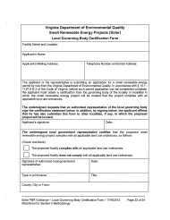 "Form REW-1 ""Local Governing Body Certification Form - Small Renewable Energy Projects (Solar)"" - Virginia"