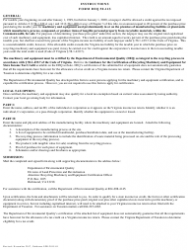 "Form DEQ50-11S ""Recycling Machinery and Equipment Certification for State Income Tax Credit"" - Virginia, Page 2"