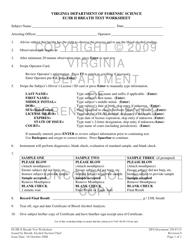 """DFS Form DFS250-F115 """"Ec/Ir Ii Breath Test Worksheet"""" - Virginia"""