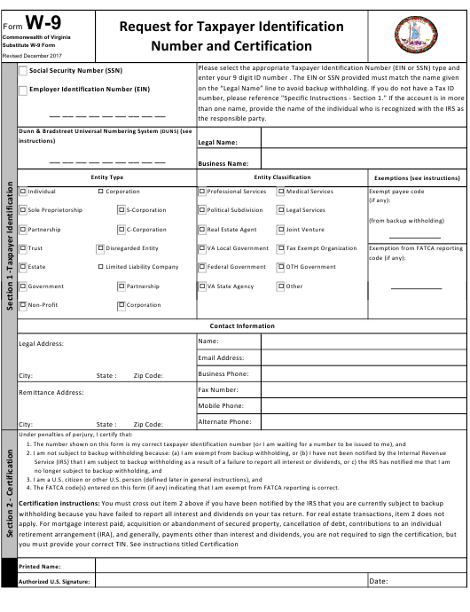 Form W-9 Download Fillable PDF, Substitute W-9 Form