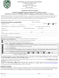 "Form LTL-VET ""Resident Disabled Veteran Lifetime License Application - Hunting, Freshwater Fishing, and/or Trapping, and Disabled Saltwater Fishing"" - Virginia"
