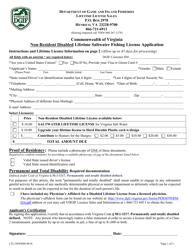 "Form LTL-NONDIS ""Non-resident Disabled Lifetime Saltwater Fishing License Application"" - Virginia"
