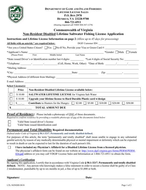 Form LTL-NONDIS  Printable Pdf