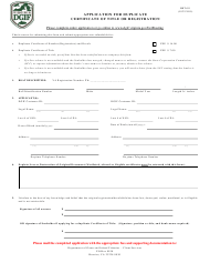 """Form BRT-11 """"Application for Duplicate Certificate of Title or Registration"""" - Virginia"""