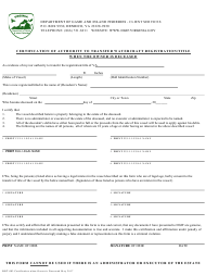 """Form BRT-003 """"Certification of Authority to Transfer Watercraft Registration/Title When the Owner Is Deceased"""" - Virginia"""