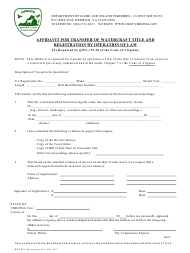 """Form BRT-005 """"Affidavit for Transfer of Watercraft Title and Registration by Operation of Law"""" - Virginia"""