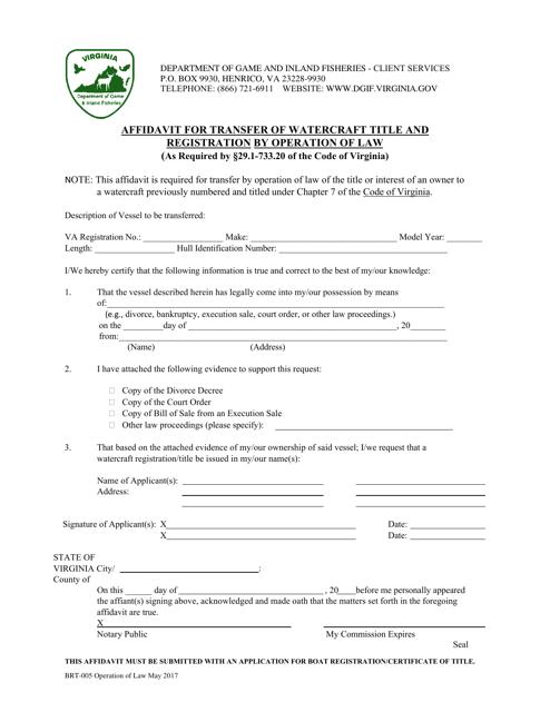 Form BRT-005  Printable Pdf