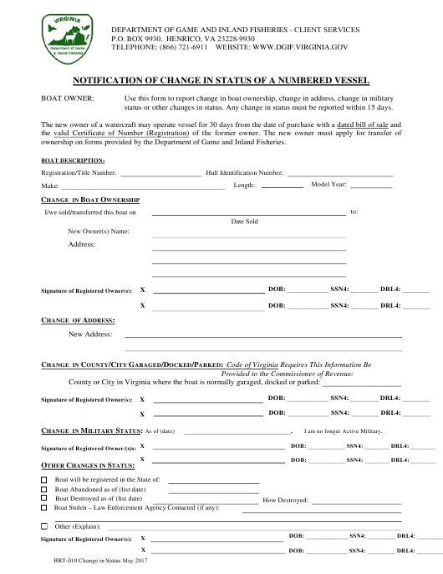 Form BRT-010  Printable Pdf