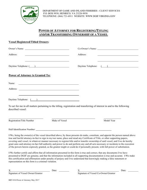 Form BRT-016  Printable Pdf