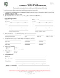 "Form BRT-021 ""Application for Supplemental Lien or Transfer of Lien"" - Virginia"