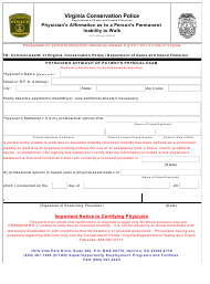 "Form VCP-410 ""Physician's Affirmation as to a Person's Permanent Inability to Walk"" - Virginia"