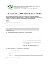 "Form BRT-026 ""Vessel Search for Captain's License"" - Virginia"