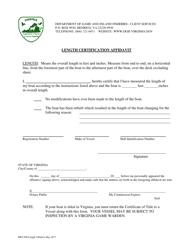 """Form BRT-008 """"Length Certification Affidavit"""" - Virginia"""