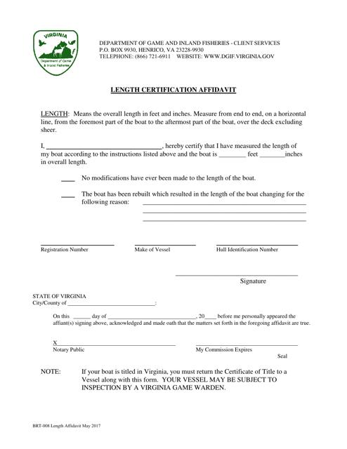 Form BRT-008  Printable Pdf
