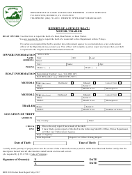 "Form BRT-018 ""Report of a Stolen Boat/Motor/Trailer"" - Virginia"