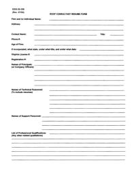 "Form DGS-30-356 ""Roof Consultant Resume Form"" - Virginia"