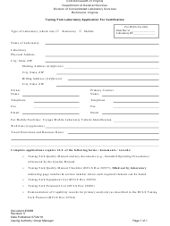 """Form 6958 """"Tuning Fork Laboratory Application for Certification"""" - Virginia"""