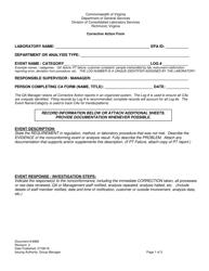 "Form 6980 ""Corrective Action Form"" - Virginia"