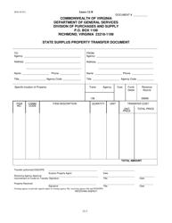 "Form DGS-44-012 Annex 12-B ""State Surplus Property Transfer Document"" - Virginia"