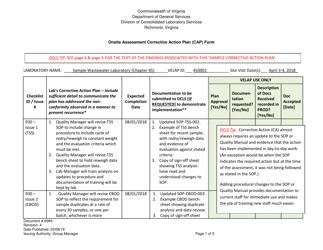 "Sample Form 6984 ""Onsite Assessment Corrective Action Plan (CAP) Form"" - Virginia"