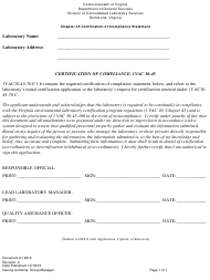 """Form 12016 """"Chapter 45 Certification of Compliance Statement"""" - Virginia"""