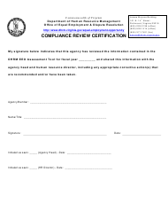 """""""Compliance Review Certification Form"""" - Virginia"""