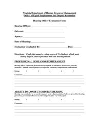 """Hearing Officer Evaluation Form"" - Virginia"
