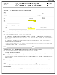 """DHRM Form L-1 Attachment B """"Notice of Layoff or Placement"""" - Virginia"""